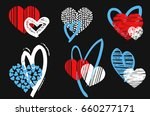 hearts vector set. hand drawn... | Shutterstock .eps vector #660277171