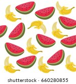 watermelon and banana summer... | Shutterstock .eps vector #660280855