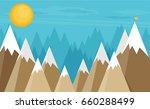 vector flat flag on mountain.... | Shutterstock .eps vector #660288499