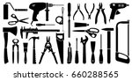 vector silhouette working tools ... | Shutterstock .eps vector #660288565
