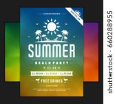 retro summer party design... | Shutterstock .eps vector #660288955