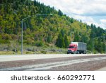 red big rig modern shiny semi... | Shutterstock . vector #660292771