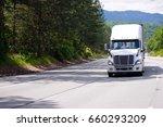 white modern big rig semi truck ...   Shutterstock . vector #660293209