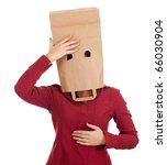 young woman in ecological paper bag on head suffering from pain -  headache - stock photo