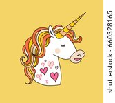 hand drawn  unicorn and star... | Shutterstock .eps vector #660328165