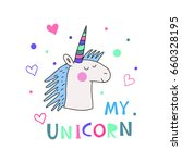 hand drawn  unicorn and star... | Shutterstock .eps vector #660328195