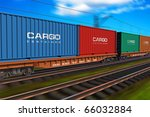 freight train with cargo... | Shutterstock . vector #66032884