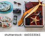 traveler's set things of a... | Shutterstock . vector #660333061