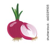 red onion with slice flat... | Shutterstock .eps vector #660339505