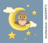 little yawning owl sitting on a ... | Shutterstock .eps vector #660359971