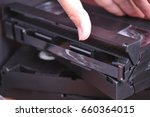 old black videotapes on the... | Shutterstock . vector #660364015