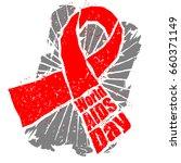 world aids day emblem. red... | Shutterstock . vector #660371149