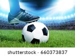 feet of soccer player with ball ... | Shutterstock . vector #660373837