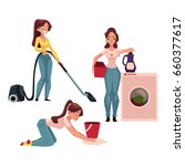 young woman  housewife doing... | Shutterstock .eps vector #660377617