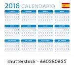 calendar 2018   spanish version ... | Shutterstock .eps vector #660380635