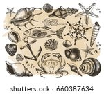ink hand drawn set of marine... | Shutterstock .eps vector #660387634