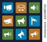 megaphone icons set. set of 9... | Shutterstock .eps vector #660388765