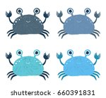 cute vector cartoon crab icons | Shutterstock .eps vector #660391831