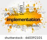 implementation word cloud... | Shutterstock . vector #660392101