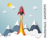 rocket launch.with start up... | Shutterstock .eps vector #660392995