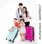 happy family with suitcase...   Shutterstock . vector #660398017