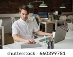 attentive executive using... | Shutterstock . vector #660399781