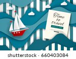 time to travel. sailboat in the ... | Shutterstock .eps vector #660403084