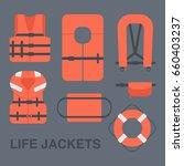 life jackets types vector flat...   Shutterstock .eps vector #660403237