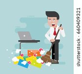 businessman is managing emails... | Shutterstock .eps vector #660409321