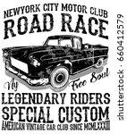 vintage race car for printing... | Shutterstock .eps vector #660412579