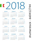 calendar 2018 year   italian... | Shutterstock .eps vector #660412744