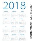 calendar 2018 year   vector... | Shutterstock .eps vector #660412807