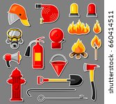 set of firefighting stickers.... | Shutterstock .eps vector #660414511