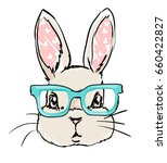 Cute Rabbit Sketch Vector...