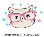 cute cat sketch vector... | Shutterstock .eps vector #660423529