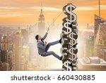businessman climbing dollar... | Shutterstock . vector #660430885
