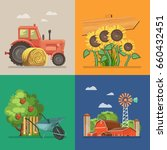 farm set with tractor ...   Shutterstock .eps vector #660432451