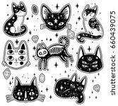 witch's cat. vector... | Shutterstock .eps vector #660439075