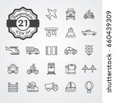 transportation icon set outline ... | Shutterstock .eps vector #660439309