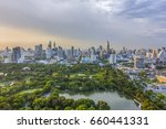lumpini park and bangkok city... | Shutterstock . vector #660441331