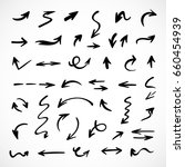 hand drawn arrows  vector set | Shutterstock .eps vector #660454939
