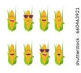 set smile emoticon face in corn.... | Shutterstock .eps vector #660463921