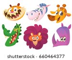 cartoon african animals. wild... | Shutterstock .eps vector #660464377