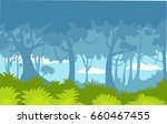 forest jungle  cartoon... | Shutterstock .eps vector #660467455