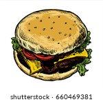 vector hamburger in sketch... | Shutterstock .eps vector #660469381