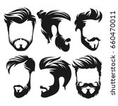 vector vintage hairstyle barber ... | Shutterstock .eps vector #660470011