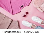 flat lay shot of female pastel... | Shutterstock . vector #660470131