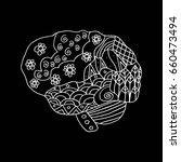 human brain zentangle | Shutterstock .eps vector #660473494