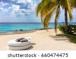 luxurious sunbed under palm...   Shutterstock . vector #660474475