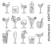 monochrome cocktails set  thin... | Shutterstock .eps vector #660475051